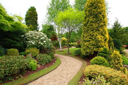 Paver walkway along groomed landscape